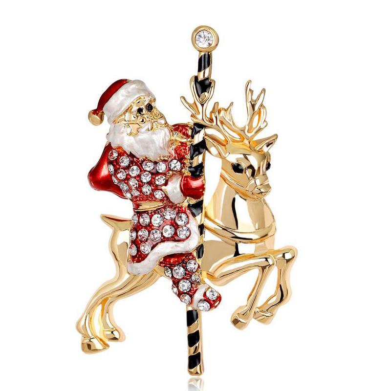 Santa claus enamel brooch pin for chirstmas gifts