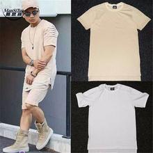 Buy Man si Tun New 2017 Summer Fashion White Khaki Black Solid Cotton T Shirt Men Biker T-Shirt Kanye West Extended Hip Hop T-Shirt for $19.35 in AliExpress store