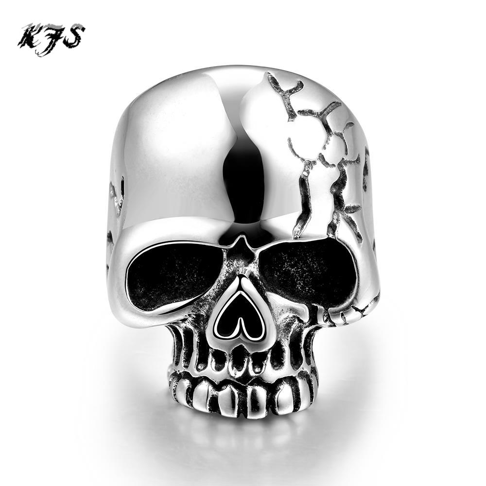 2016 Lastest Design Hot Mens Boy Skull Head Ring 316L Stainless Steel Punk Style Ring(China (Mainland))