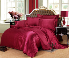 New arrival 4pcs Imitation Silk Bedding set bed linen Bedclothes Mattress cover Fitted Sheet Duvet cover  printed Red rubber(China (Mainland))