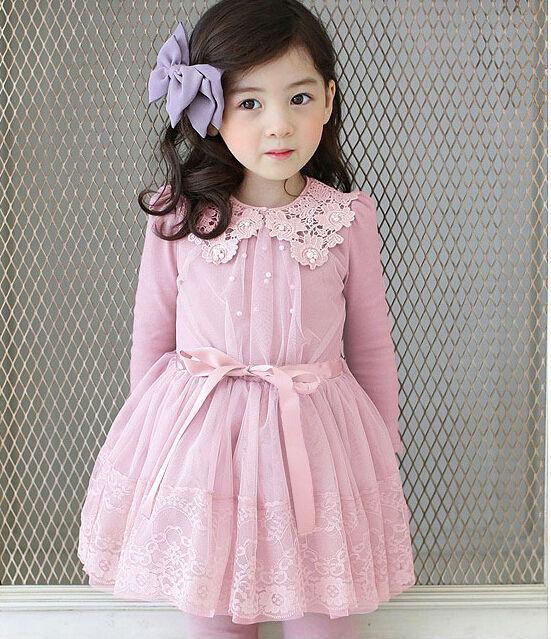 2016 New Spring Long Sleeve Children Princess Dress  Beading Little Girls Lace TUTU Dress Kids Tulle  Party Dress Purple Pink<br>