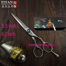 Professional 5.5 inch Hair Scissors Brand TITAN T4 Hairdressing Shears 6 inch Japan 440C cobalt  Stainless Steel  to Barber gift