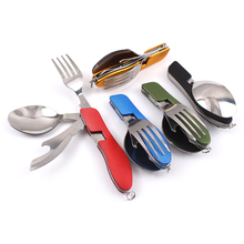 Multifunctional Portable Folding Camping Fork Spoon Knife Set Stainless Steel Outdoor Camping Travel Hiking Picnic Tableware(China (Mainland))