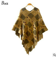 4 Style 2015 Winter Women V Neck Batwing Stripes Fringed Stitching Irregular Tops Poncho Shawl Cape Sweater Blusas Femininas(China (Mainland))