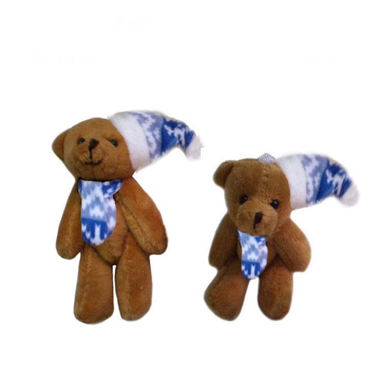 2pcs/lot, H=8cm, W=10G,brown, Plush Christmas joint bear with Christmas hat, Christmas tree pendent, Stuffed teddy bear, t(China (Mainland))