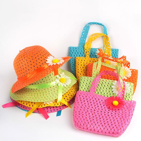 Girls Kids Beach Hats Bags Flower Straw Hat Cap Tote Handbag Bag Suit Children Summer Sun Hat For Free Shipping(China (Mainland))