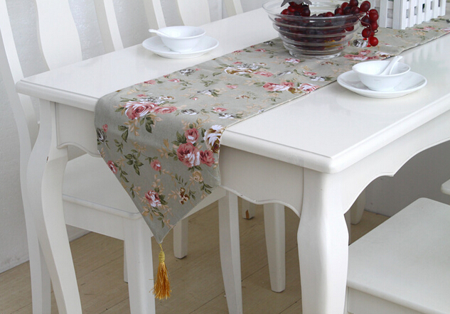 Table Runner Linen Luxury Placemats Natural Table Runners Wedding Decor Pastoral Flowers Decoracion De Mesa(China (Mainland))