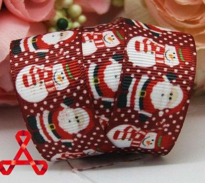 50 yard 7/8 inch 22mm Red Christmas Santa Claus snowman printed grosgrain ribbon hairbow s ab - Dodo Shop 715204 store