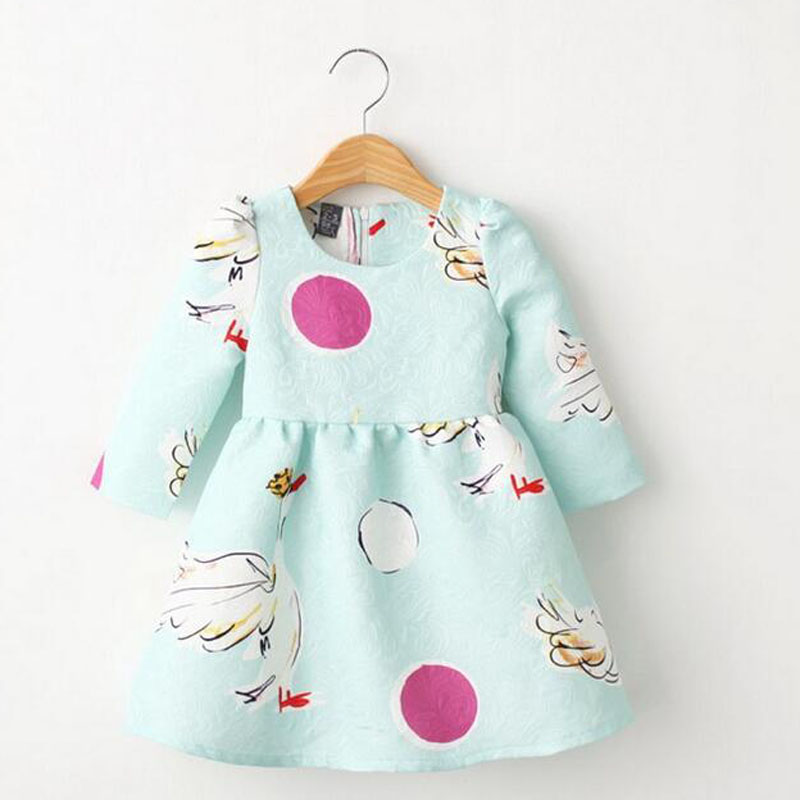 Hot sell Autumn korean fashion baby gril dress Swan jacquard satin face cotton long sleeve dresses cute sweet children clothes(China (Mainland))