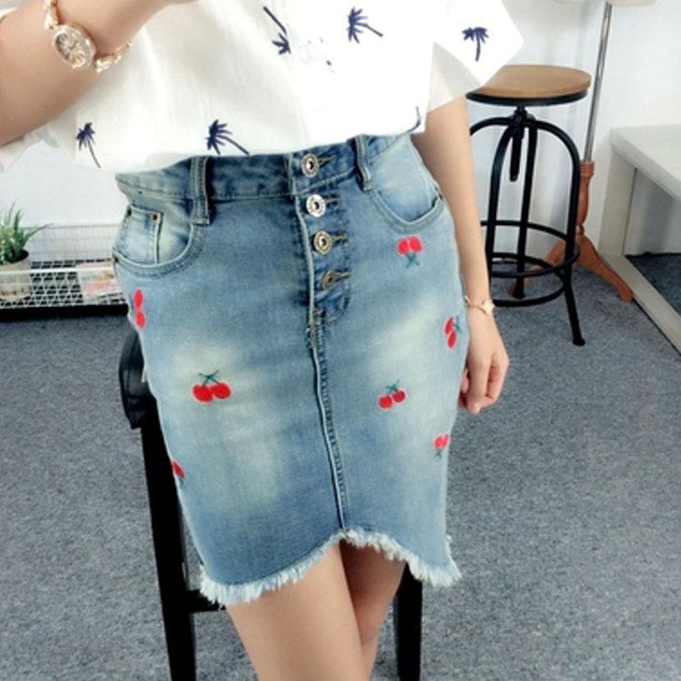 Irregular Embroidery Skirt 2015 Summer New Korean Pencil Denim Skirt Korean Fashion Clothing Wholesale Korean Clothes Sexy Cute(China (Mainland))