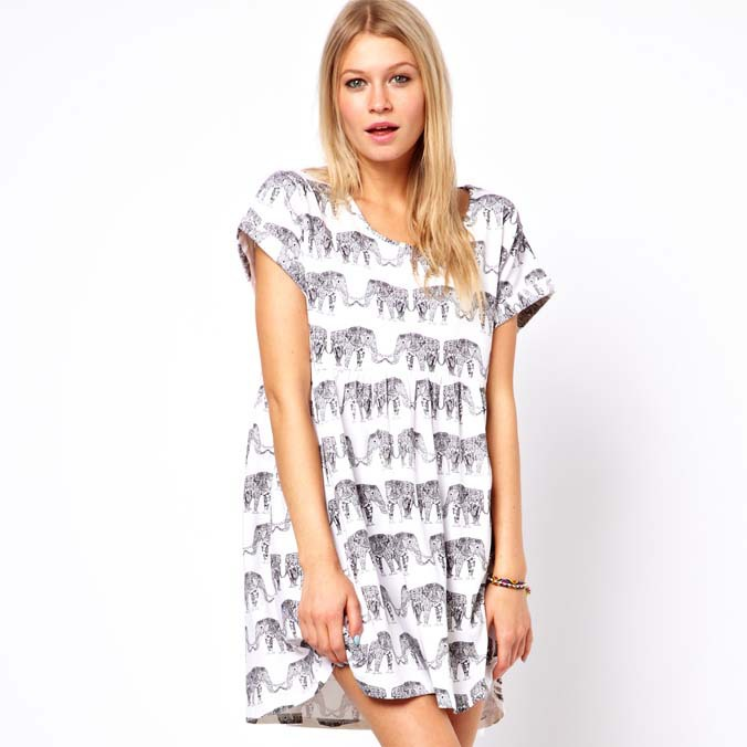 XS/S/M/L/XL/XXL New 2014 Spring-Summer Women's Elephants Printing Loose Short-Sleeved T-shirt Long Smock Dress Free Shipping HDY(China (Mainland))