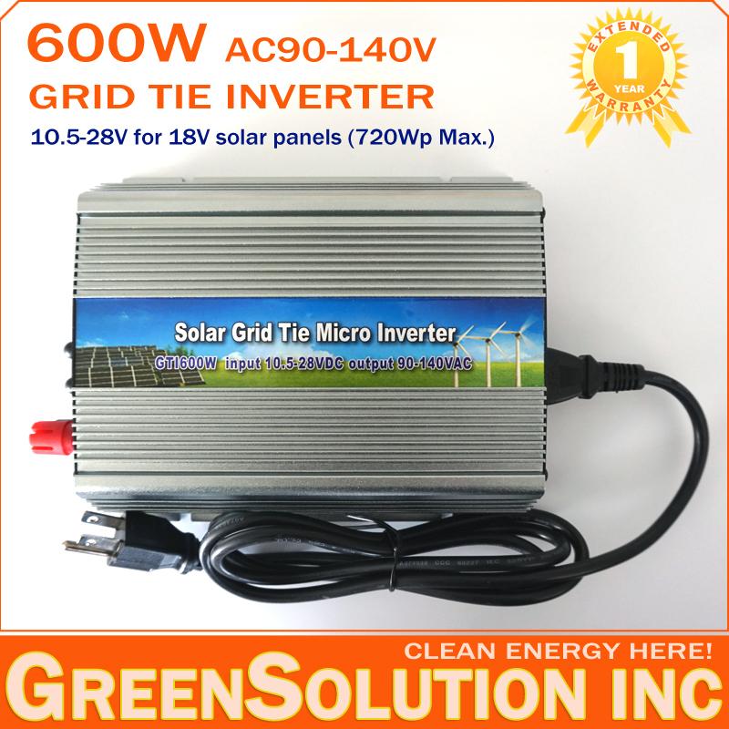 NEW! 600W MPPT Grid Tie Solar Inverter 10.5V-28V DC to AC 90-140V On Grid Inverter Pure Sine Wave used for 18V 720W Solar Panel(China (Mainland))