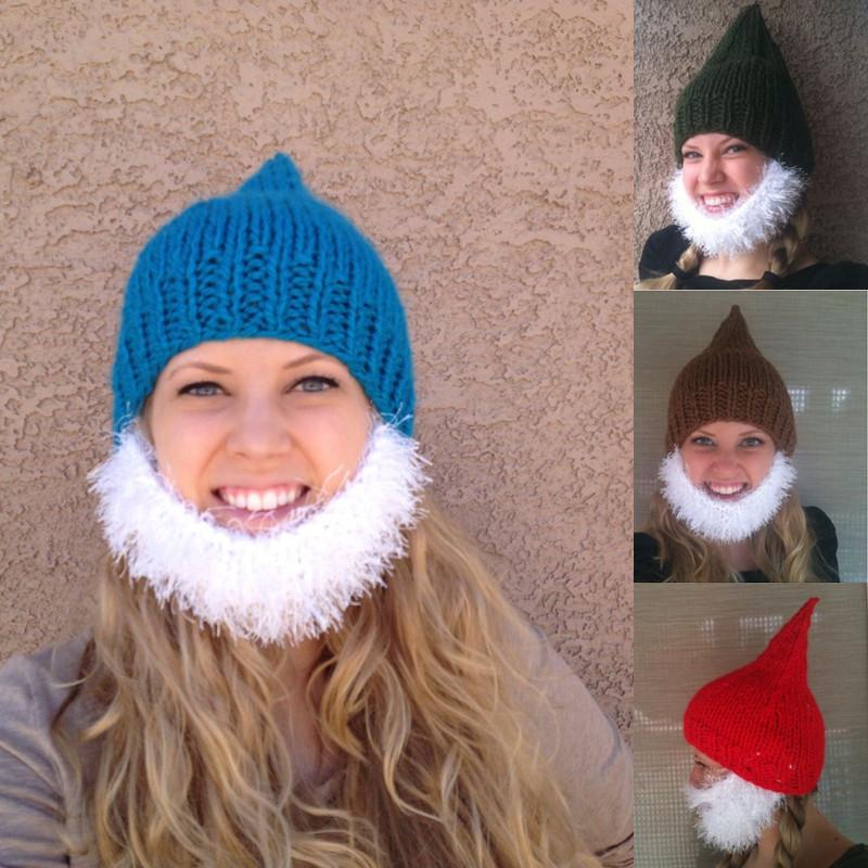 Knitting Pattern For Dwarf Hat : Bearded Beanie Pointed Knitting Thick wool warm Elf Dwarf ...
