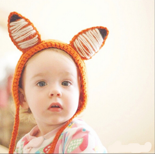 Baby Boy Girl Cap Orange Children Autumn Winter Cotton Knitted Lovely Fox Hat Kids Hand Knit baby Costumes - MAKA store