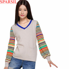 Sparsil Women Winter&Autumn Soft  V Neck Cashmere Blend Sweater Pullover Casual Lantern Sleeve Knitwear Knitted Jumper(China (Mainland))