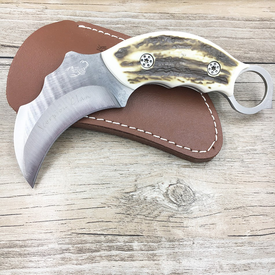 Buy Outdoor Karambit knife Hunting Knives Camping Tool Survival Tactical Knife Stainless steel scorpion claw knife with sheath cheap