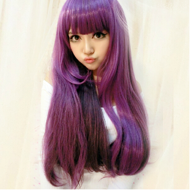 Harajuku Ombre Wig Long Purple Curly Wavy Wig Synthetic Fashion Party Peerless Hair Cheap Queen Weave Beauty Fine(China (Mainland))