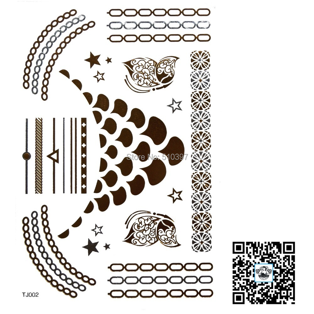 1pc/lot/TJ002,Flash Temporary Tattoo/Strip,Chain,Necklace,Star,flower/waterproof Gold Metallic fake tatoo sticker/Christmas gift - Betty's Tattoo Sticker store
