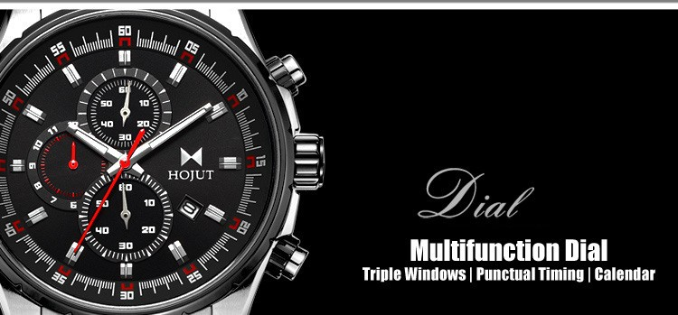 HOJUT A51mens style triple window six hands with calendar business watches