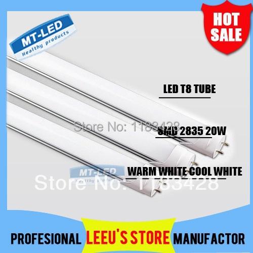 SMD 2835 LED tube light fluorescent tube light lamp T8 G13 85-265V 2000lm 20W 1200mm 1.2M 4 feet ft tubes FEDEX Free shipping(China (Mainland))