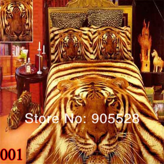 2013 100% quality Textile 3d 100% cotton four pieces per set slanting strip leopard printing bedding set 3D Tiger Head Printed