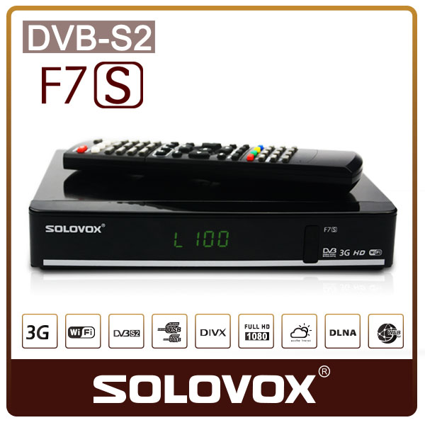 Europe CCCAM SOLOVOX F7S Satellite Receiver DVBS2 USB WIFI/3G/ support CCCAM Sharing Newcamd F3S/F4S/F5S/V6/V7/V8/A100/AS100(China (Mainland))