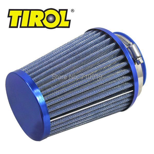 T11649b TIROL Round Tapered Mini Power Stack Air Intake/ Air Filter Diameter 76mm Blue