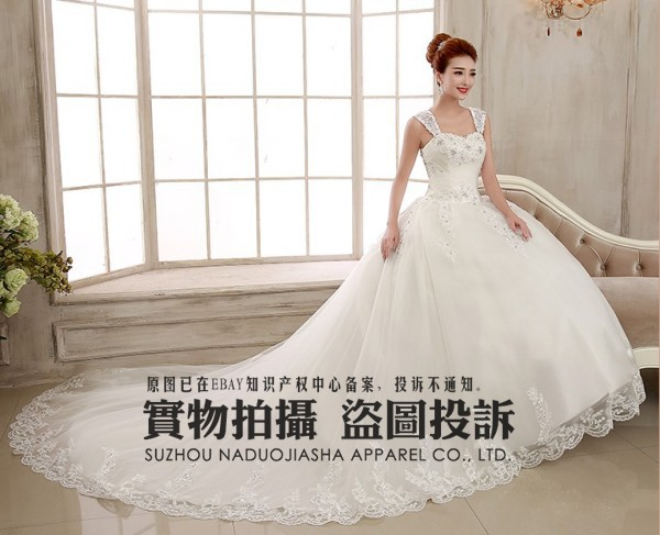 2015 white Removable shoulder strap Royal Train wedding dresses vestido de noiva Stock Size 6 8 10 12 14 16 18w 20W(China (Mainland))