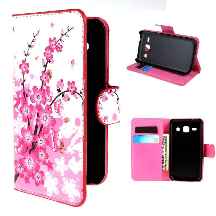 Flower Plum Fashion Wallet Leather Skin Flip Magnetic Case ...