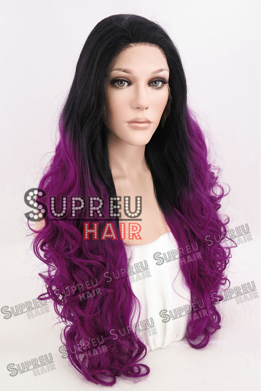 18-28 Long Curly Wavy Rose Red With Black Roots Synthetic Lace Front Wig Heat Resistant LW747<br><br>Aliexpress
