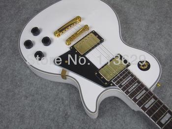 Promotion!!! LP Custom Electric Guitar, Alpine White, Pickguard with Star, Golden Hardware