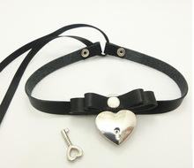 Fashion Lace up Safe Heart Lock Key Necklace Punk Goth Handmade Stud Rivet Bowknot Choker Collar