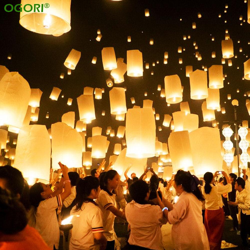 10pcs White Flying Wishing Lamp Chinese Lantern Sky Lanterns Hot Air Kongming Lantern For Birthday Wedding Party Decoration(China (Mainland))