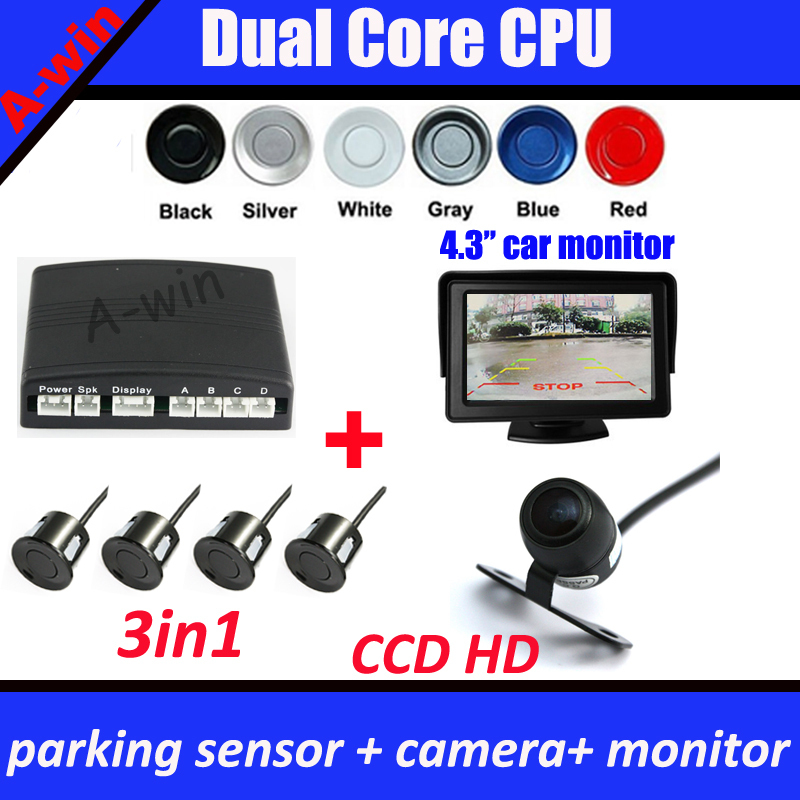 3in1 parking sensor Dual core CPU + car rear parking backup camera CCD HD reverse camera + 4.3inch car monitor mirror(China (Mainland))