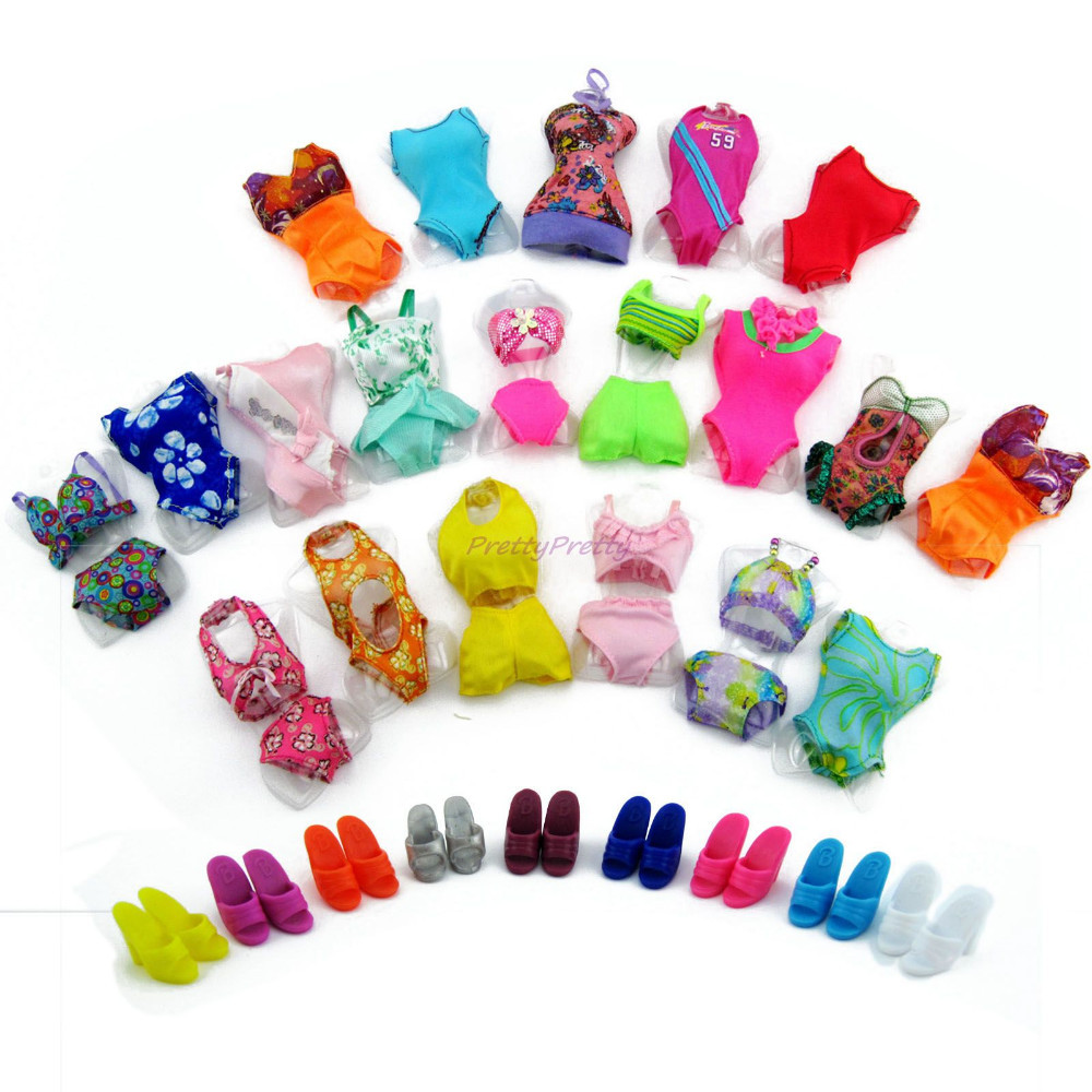 Lot 10 Merchandise = 5 Seashore Bathing Garments Swimsuit + 5 Slippers Outfits For Barbie Doll Costume Swimwears