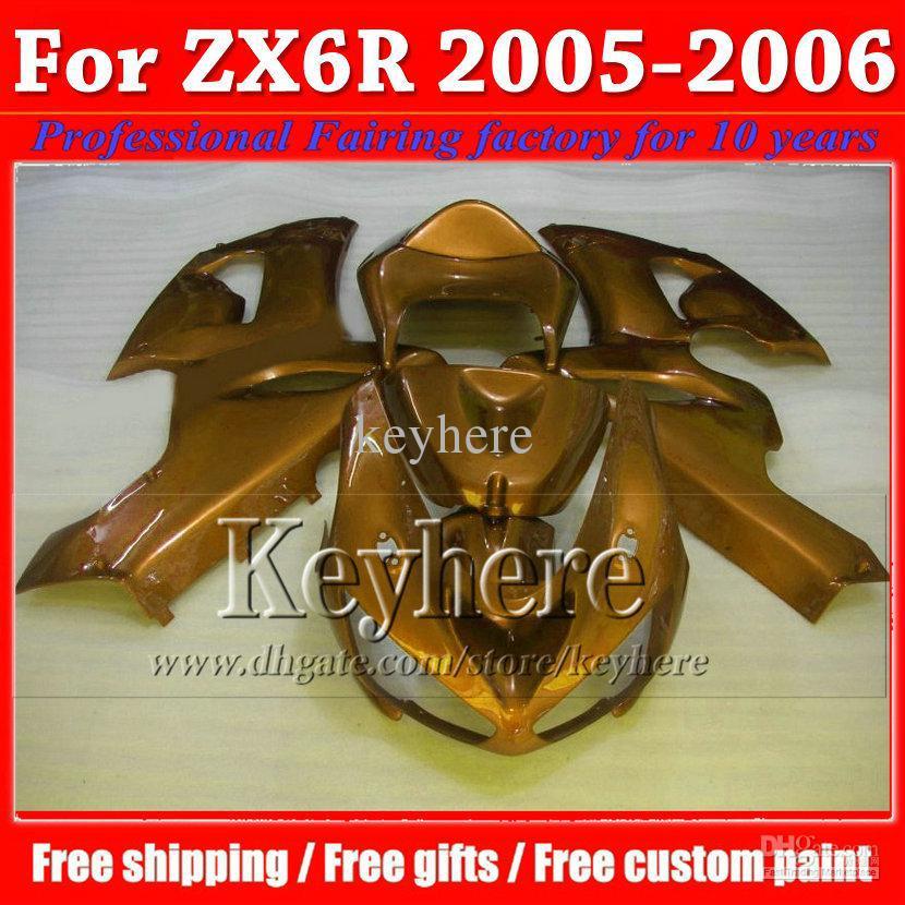 High quality popular all golden 2005 2006 body kit ZX6R fairing kit KAWASAKI ZXC 05 06 hot sale plastic kit parts C315(China (Mainland))