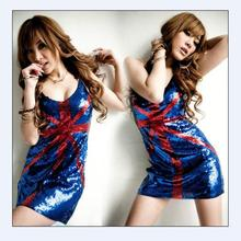 2016 Free Shipping Summer Spaghetti Strap Dress US UK Flag costumes for singer ladies nightclub performance dance clothing