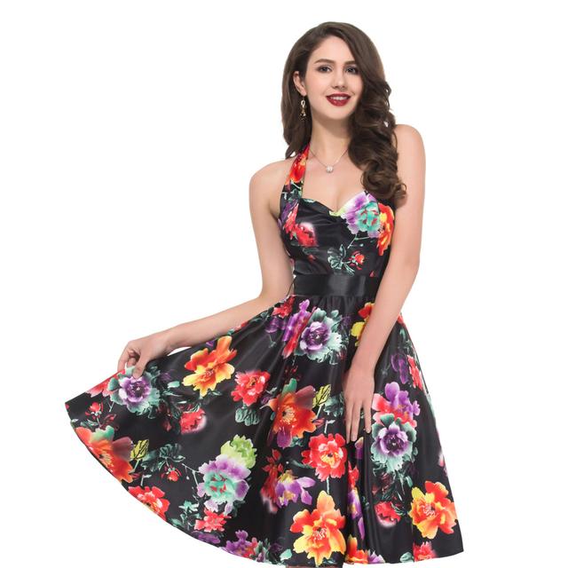 Реальные фотографии цветок печать вечер ну вечеринку платья женщин старинные 1950 ...