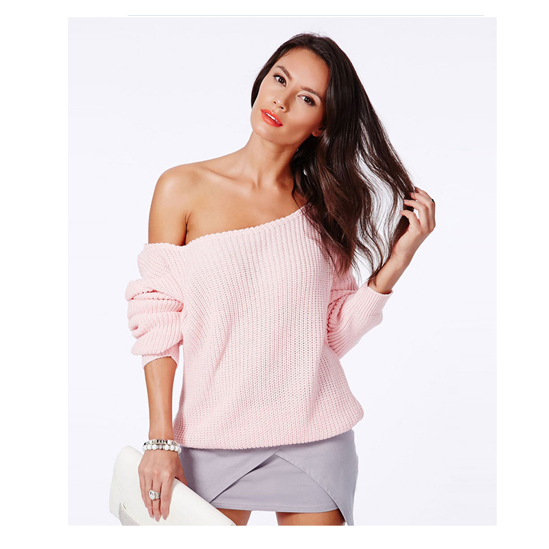 Women Fashion 2015 Autumn Winter Cashmere Sweater Off Shoulder Loose 100% Wool Female Clothing Batwing Sleeve Plus Size Pullover(China (Mainland))
