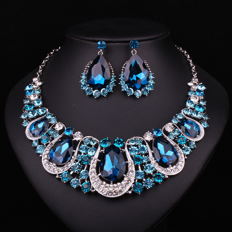 Fashion Indian Jewellery Sapphire Crystal Necklace Earrings Bridal Jewelry Sets For Brides Party