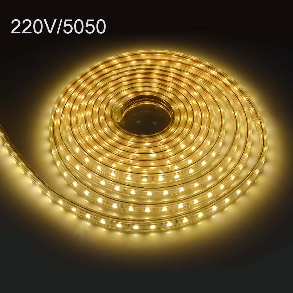 SMD5050 LED Strip Light AC 220V Fiexble LED Light 1M/2M/3M/4M/5M/10M 60leds/M Home Decoration Lamps Waterproof With EU Plug(China (Mainland))