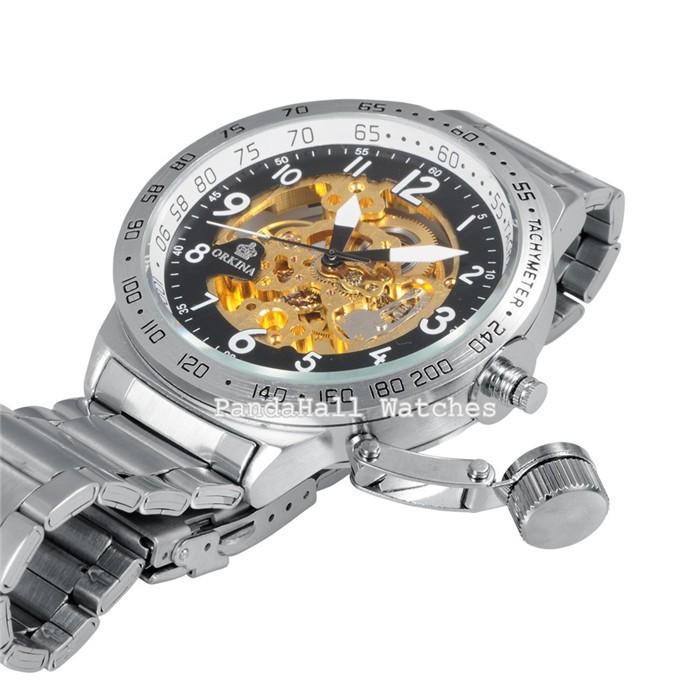 Orkina Мужские Часы Автоматическая Каркасного Механически Военные Часы Relogio Мужской Мужские Relojes Montre Часы Полная Сталь Наручные Часы