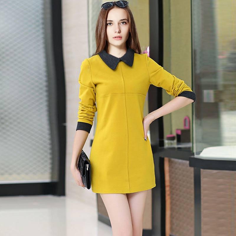 Nouveau Mode Printemps Robes 2016 Vente Chaude Corée Slim Manches Longues Femmes Robe Pure Couleur Poupée