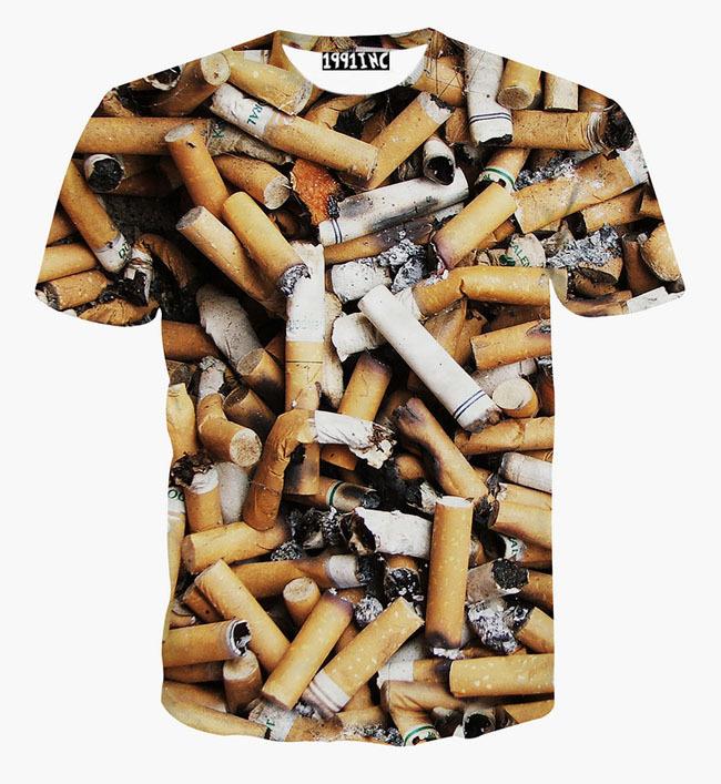 [Mikeal] New men's t shirt short sleeve casual summer tops 3d print Cigarette butts t-shirt creative tshirts(China (Mainland))