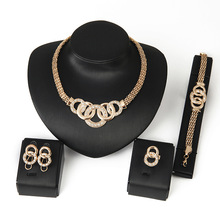 Jewelry Sets African Beads Collar Statement Necklace Earrings Bracelet Fine Rings For Women CZ Diamond Vintage Party Accessories(China (Mainland))