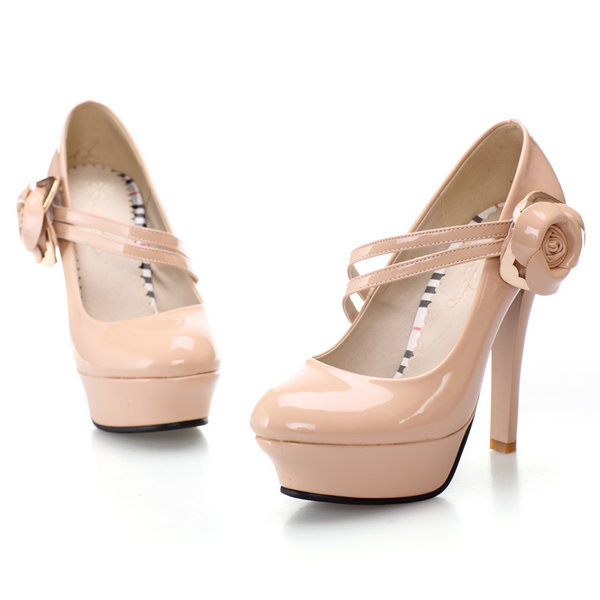 2014 New  Fashion  Women Pumps Sexy Metal Flowers  Wedding Party Night Club High Heels   Mary Janes Shoes Wedding shoes(China (Mainland))