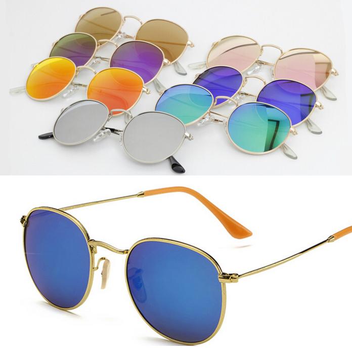 RB 3447 Aviator Sunglasses Clubmaster Women Men Round Mirror Sun Glasses UV400 Steampunk Aviator Sunglasses with Original Logo(China (Mainland))