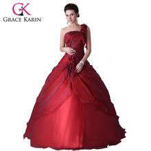 2016 grazia karin una spalla abiti di sfera del vestito per 15  Anni a buon mercato rosso quinceanera abiti sweet 16 dell'abito di sfera del taffettà  H2514(China (Mainland))
