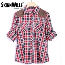 Skimmwille 2016 Новая зимняя коллекция женская теплая рубашка клетчатого фасона с длинными рукавами натуральный хлопок(China (Mainland))