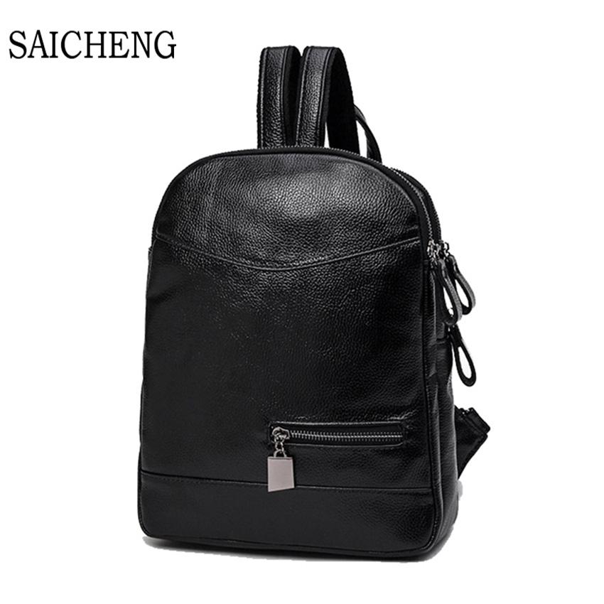 SAICHENG Fashion Women Backpack High PU Leather Backpacks Teenage Girls Large Capacity Female School Bag Back Packs
